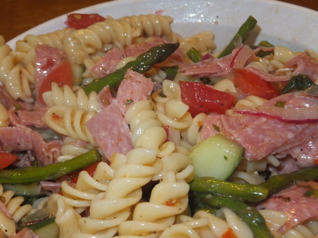 Salami, Tomatoes, Cucumbers, Asparagus, and fresh Basil